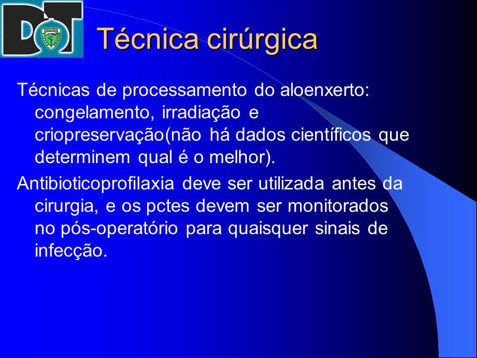 Técnica cirúrgica Técnicas de processamento do aloenxerto: congelamento, irradiação e criopreservação(não há dados científicos que determinem qual é o