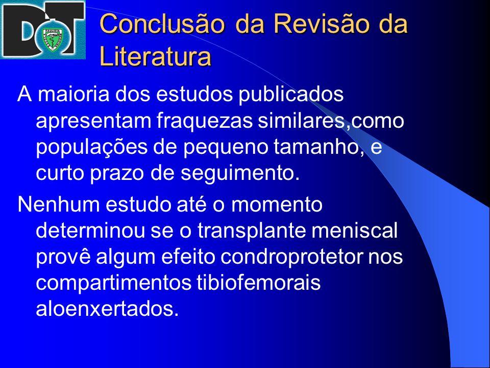 Conclusão da Revisão da Literatura A maioria dos estudos publicados apresentam fraquezas similares,como populações de pequeno tamanho, e curto prazo d