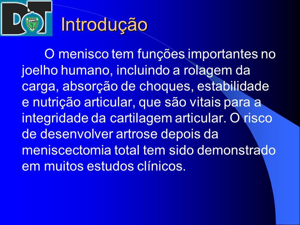 Introdução O menisco tem funções importantes no joelho humano, incluindo a rolagem da carga, absorção de choques, estabilidade e nutrição articular, q