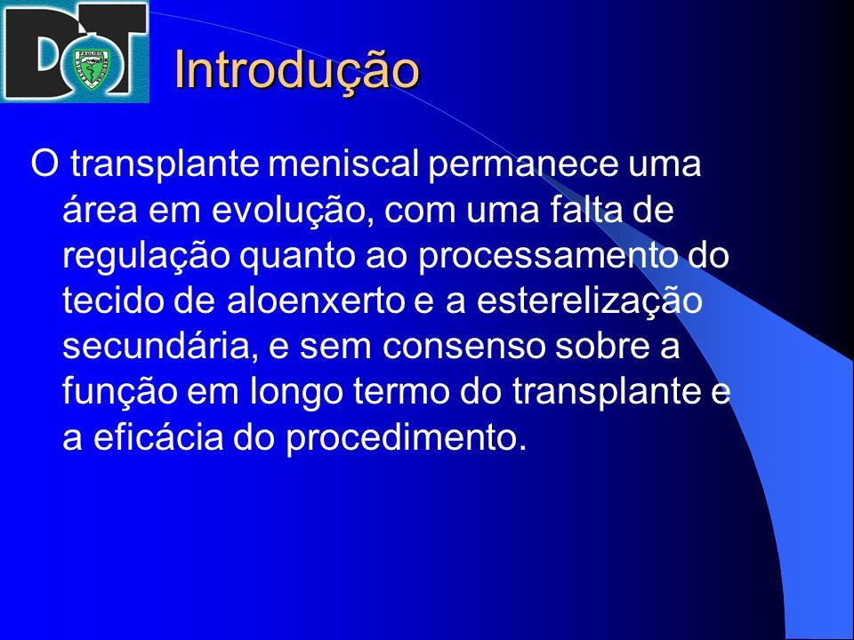 Introdução O transplante meniscal permanece uma área em evolução, com uma falta de regulação quanto ao processamento do tecido de aloenxerto e a ester
