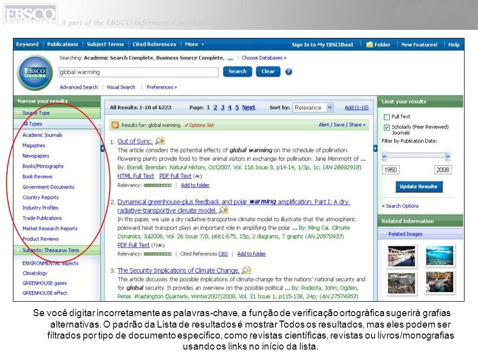 Você pode imprimir, enviar por e-mail, salvar, citar ou exportar um único resultado a partir da exibição detalhada clicando no link de um título.