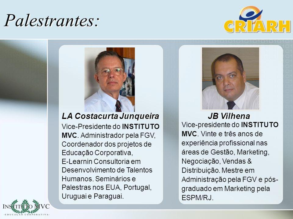 Palestrantes: Vice-presidente do INSTITUTO MVC. Vinte e três anos de experiência profissional nas áreas de Gestão, Marketing, Negociação, Vendas & Dis