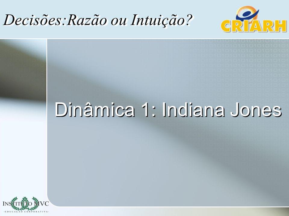Dinâmica 1: Indiana Jones Decisões:Razão ou Intuição?