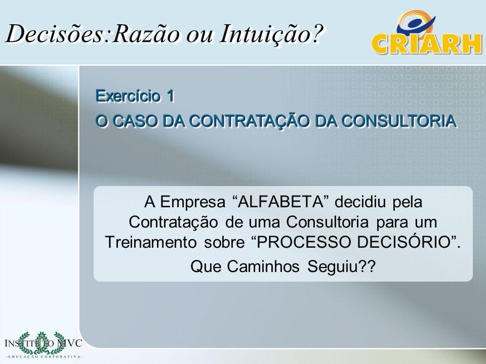A Empresa ALFABETA decidiu pela Contratação de uma Consultoria para um Treinamento sobre PROCESSO DECISÓRIO. Que Caminhos Seguiu?? Decisões:Razão ou I