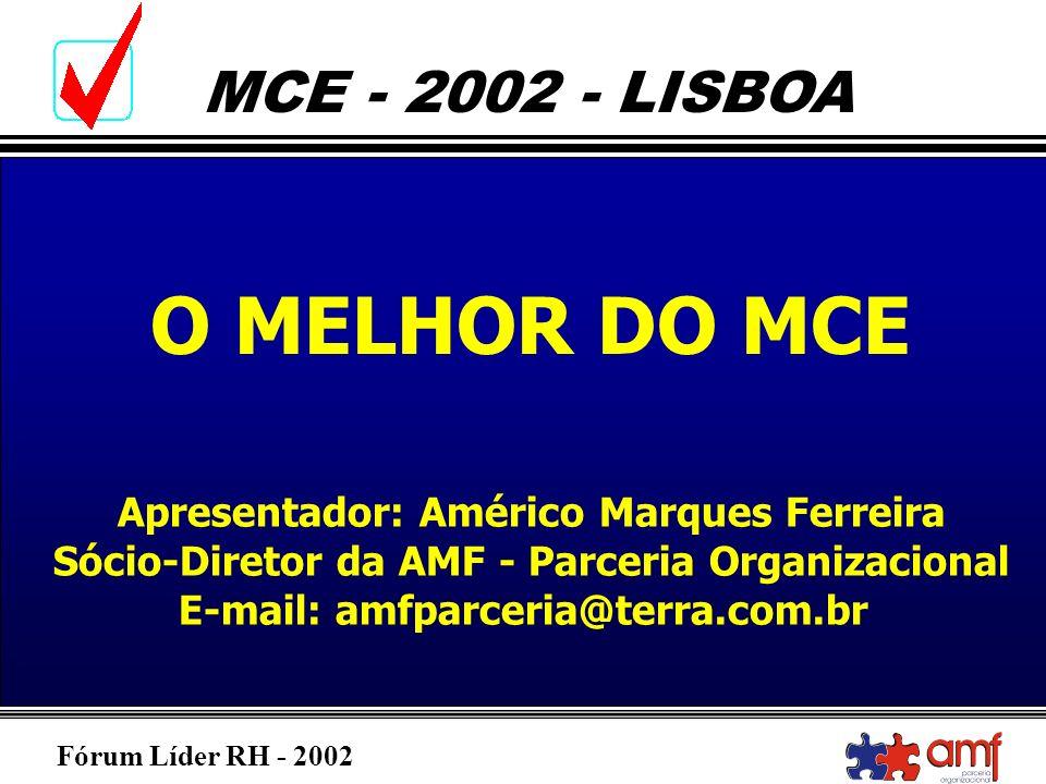 Fórum Líder RH - 2002 MCE - 2002 - LISBOA O Perfil da 34ª Conferência Global de Gestores de Recursos Humanos Slogan: Recursos Humanos na Encruzilhada: Mudar ou ser mudado.