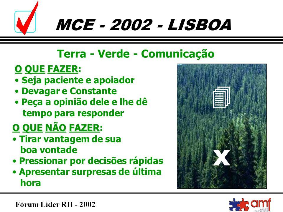 Fórum Líder RH - 2002 MCE - 2002 - LISBOA Terra - Verde - Comunicação OQUEFAZER O QUE FAZER: Seja paciente e apoiador Devagar e Constante Peça a opini