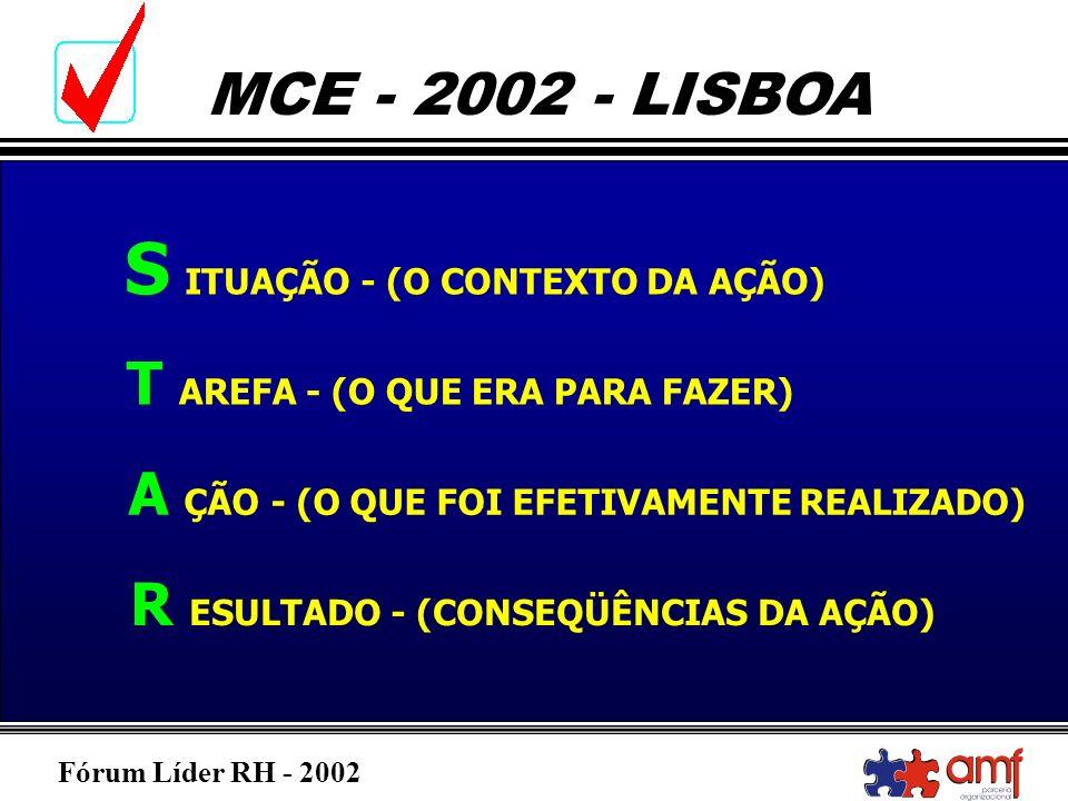 Fórum Líder RH - 2002 MCE - 2002 - LISBOA S ITUAÇÃO - (O CONTEXTO DA AÇÃO) T AREFA - (O QUE ERA PARA FAZER) A ÇÃO - (O QUE FOI EFETIVAMENTE REALIZADO)