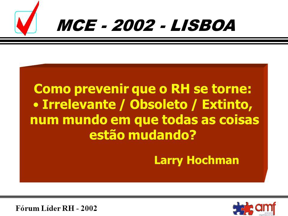Fórum Líder RH - 2002 MCE - 2002 - LISBOA Como prevenir que o RH se torne: Irrelevante / Obsoleto / Extinto, num mundo em que todas as coisas estão mu