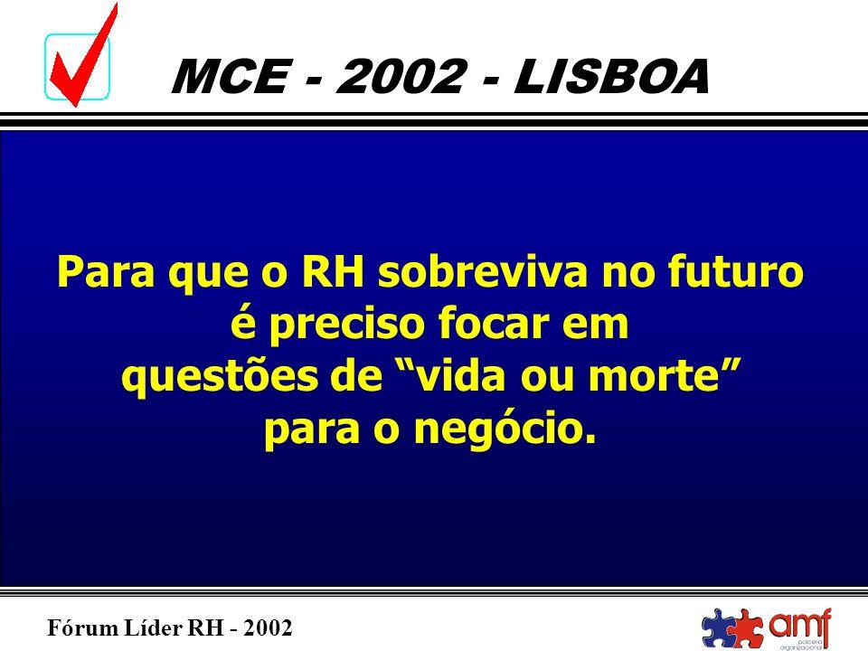 Fórum Líder RH - 2002 MCE - 2002 - LISBOA Para que o RH sobreviva no futuro é preciso focar em questões de vida ou morte para o negócio.