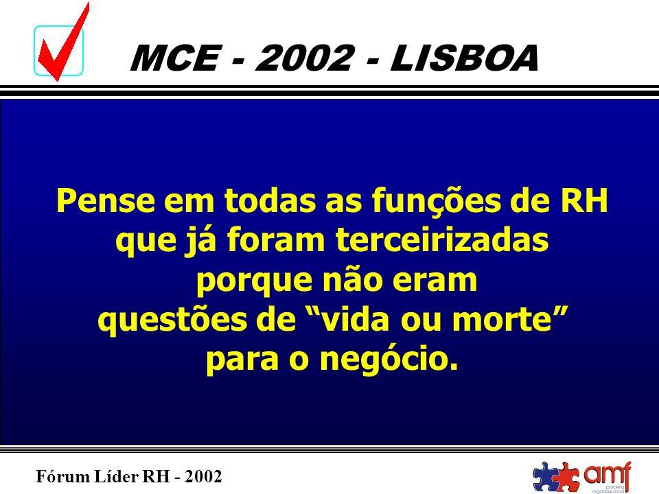 Fórum Líder RH - 2002 MCE - 2002 - LISBOA Pense em todas as funções de RH que já foram terceirizadas porque não eram questões de vida ou morte para o