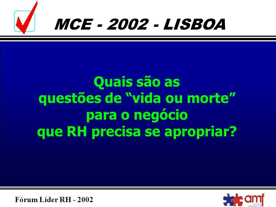 Fórum Líder RH - 2002 MCE - 2002 - LISBOA Quais são as questões de vida ou morte para o negócio que RH precisa se apropriar?