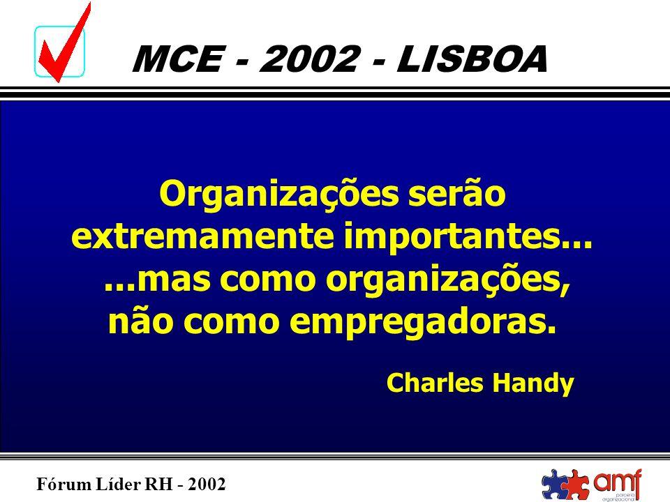 Fórum Líder RH - 2002 MCE - 2002 - LISBOA Organizações serão extremamente importantes......mas como organizações, não como empregadoras. Charles Handy