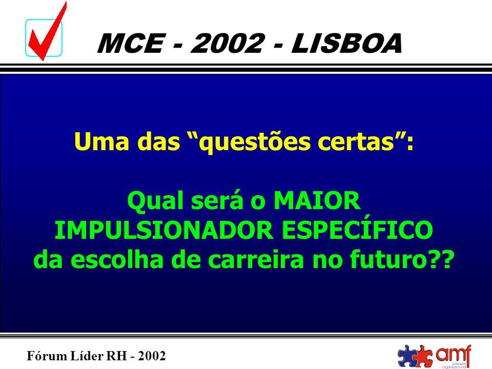 Fórum Líder RH - 2002 MCE - 2002 - LISBOA Uma das questões certas: Qual será o MAIOR IMPULSIONADOR ESPECÍFICO da escolha de carreira no futuro??