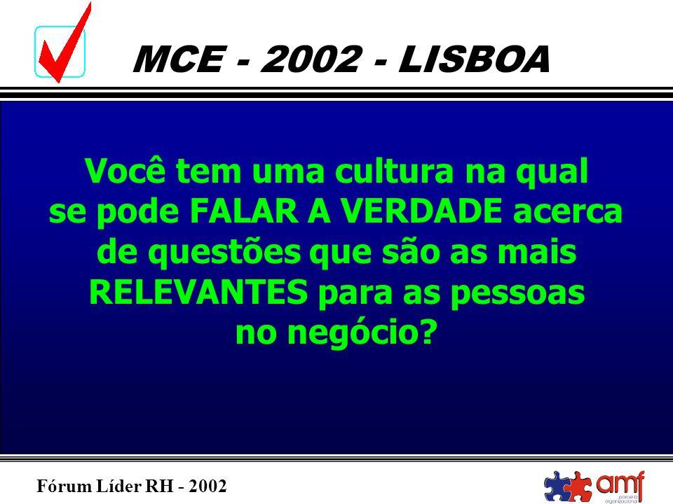 Fórum Líder RH - 2002 MCE - 2002 - LISBOA Você tem uma cultura na qual se pode FALAR A VERDADE acerca de questões que são as mais RELEVANTES para as p