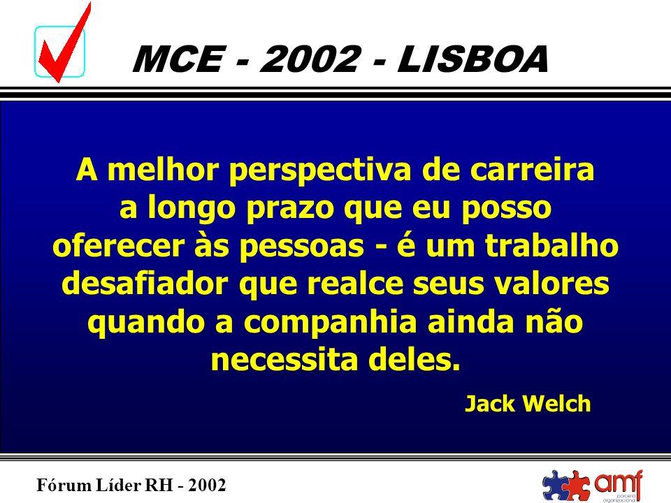 Fórum Líder RH - 2002 MCE - 2002 - LISBOA A melhor perspectiva de carreira a longo prazo que eu posso oferecer às pessoas - é um trabalho desafiador q