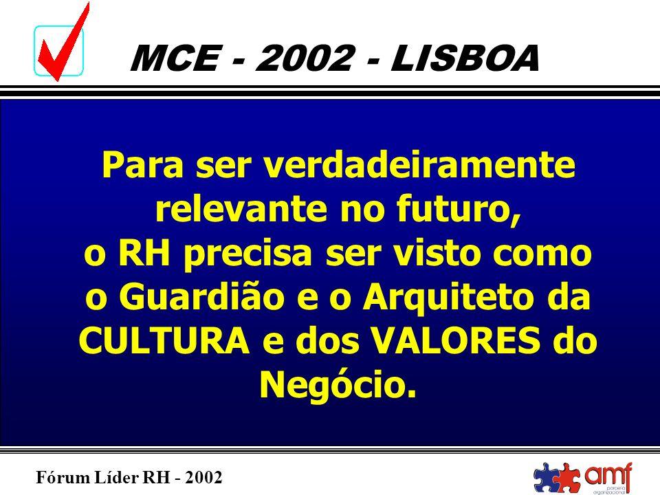 Fórum Líder RH - 2002 MCE - 2002 - LISBOA Para ser verdadeiramente relevante no futuro, o RH precisa ser visto como o Guardião e o Arquiteto da CULTUR