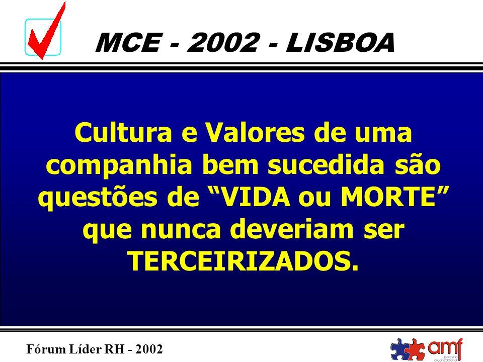 Fórum Líder RH - 2002 MCE - 2002 - LISBOA Cultura e Valores de uma companhia bem sucedida são questões de VIDA ou MORTE que nunca deveriam ser TERCEIR