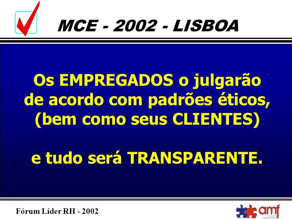 Fórum Líder RH - 2002 MCE - 2002 - LISBOA Os EMPREGADOS o julgarão de acordo com padrões éticos, (bem como seus CLIENTES) e tudo será TRANSPARENTE.