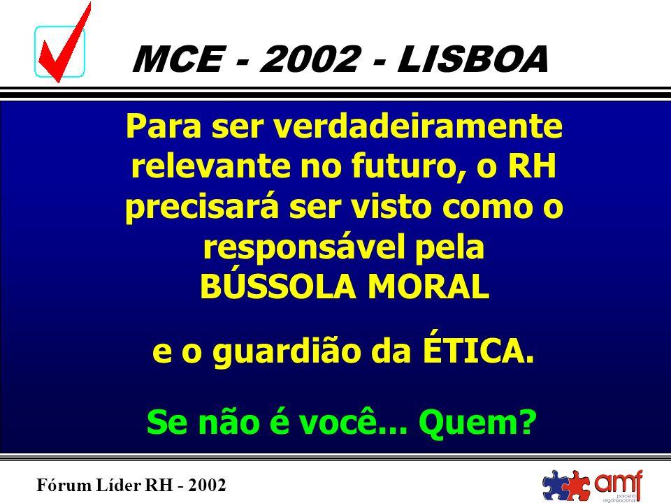 Fórum Líder RH - 2002 MCE - 2002 - LISBOA Para ser verdadeiramente relevante no futuro, o RH precisará ser visto como o responsável pela BÚSSOLA MORAL