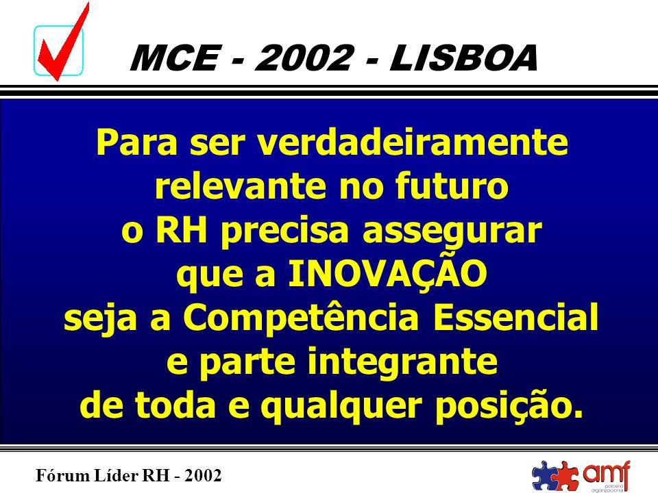 Fórum Líder RH - 2002 MCE - 2002 - LISBOA Para ser verdadeiramente relevante no futuro o RH precisa assegurar que a INOVAÇÃO seja a Competência Essenc