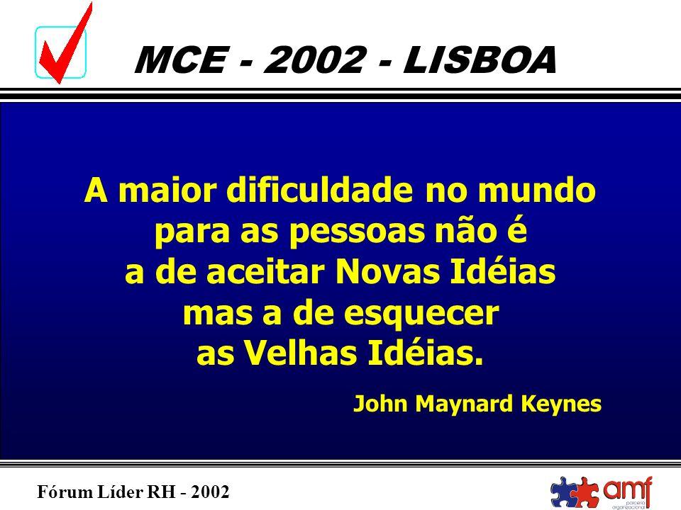 Fórum Líder RH - 2002 MCE - 2002 - LISBOA A maior dificuldade no mundo para as pessoas não é a de aceitar Novas Idéias mas a de esquecer as Velhas Idé