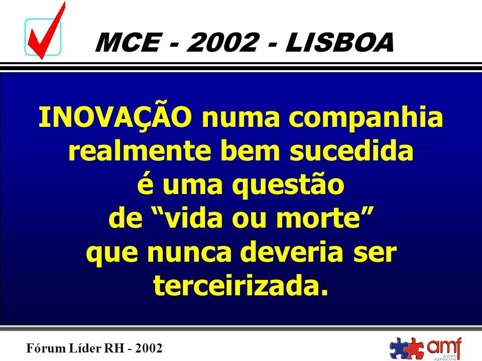 Fórum Líder RH - 2002 MCE - 2002 - LISBOA INOVAÇÃO numa companhia realmente bem sucedida é uma questão de vida ou morte que nunca deveria ser terceiri