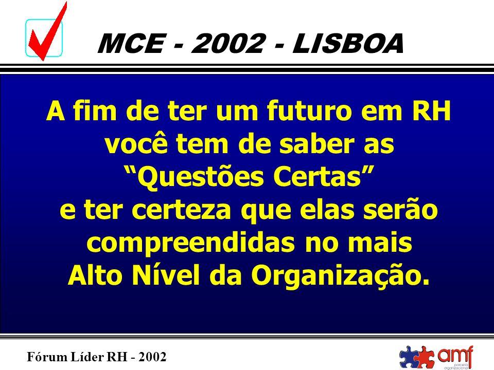 Fórum Líder RH - 2002 MCE - 2002 - LISBOA A fim de ter um futuro em RH você tem de saber as Questões Certas e ter certeza que elas serão compreendidas