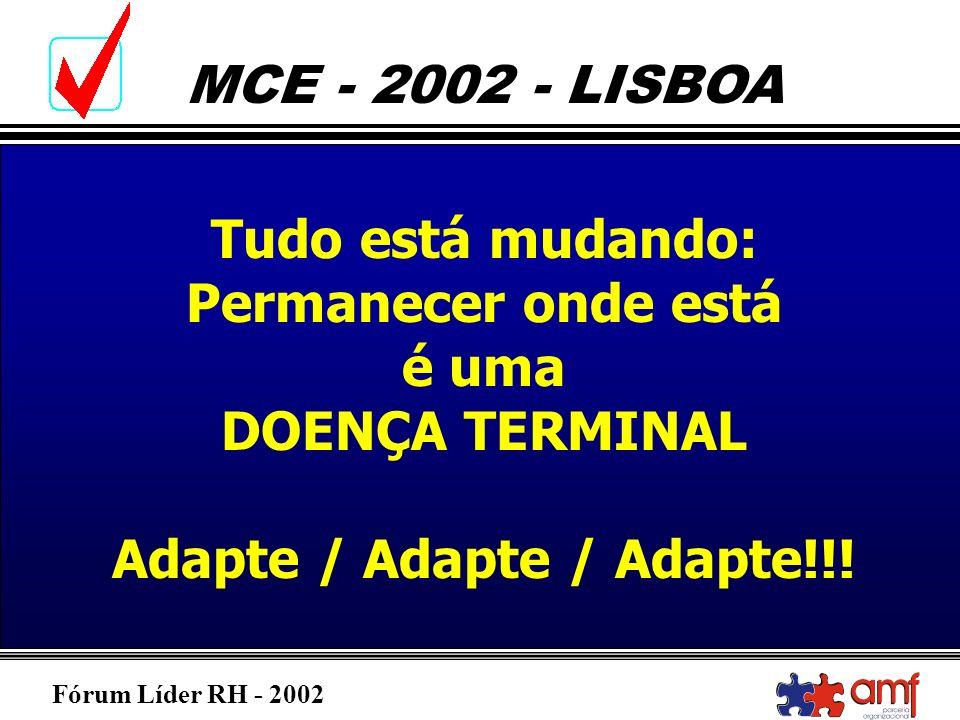 Fórum Líder RH - 2002 MCE - 2002 - LISBOA Tudo está mudando: Permanecer onde está é uma DOENÇA TERMINAL Adapte / Adapte / Adapte!!!