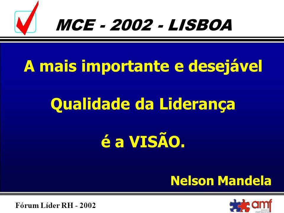 Fórum Líder RH - 2002 MCE - 2002 - LISBOA A mais importante e desejável Qualidade da Liderança é a VISÃO. Nelson Mandela