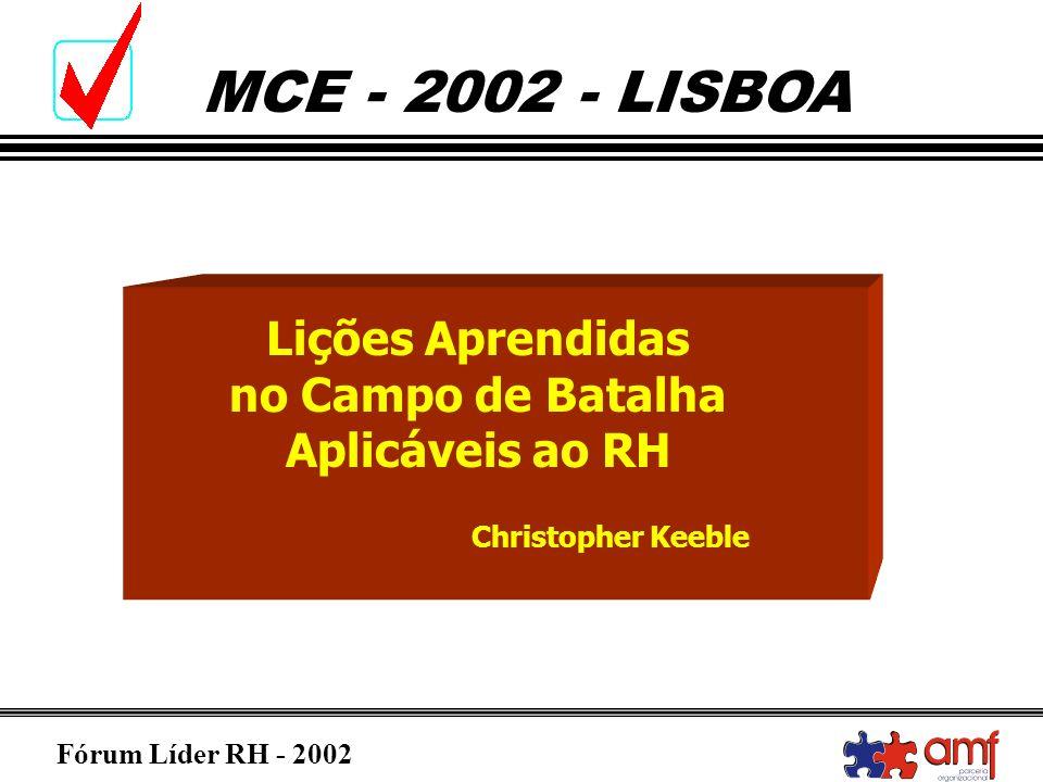 Fórum Líder RH - 2002 MCE - 2002 - LISBOA Lições Aprendidas no Campo de Batalha Aplicáveis ao RH Christopher Keeble