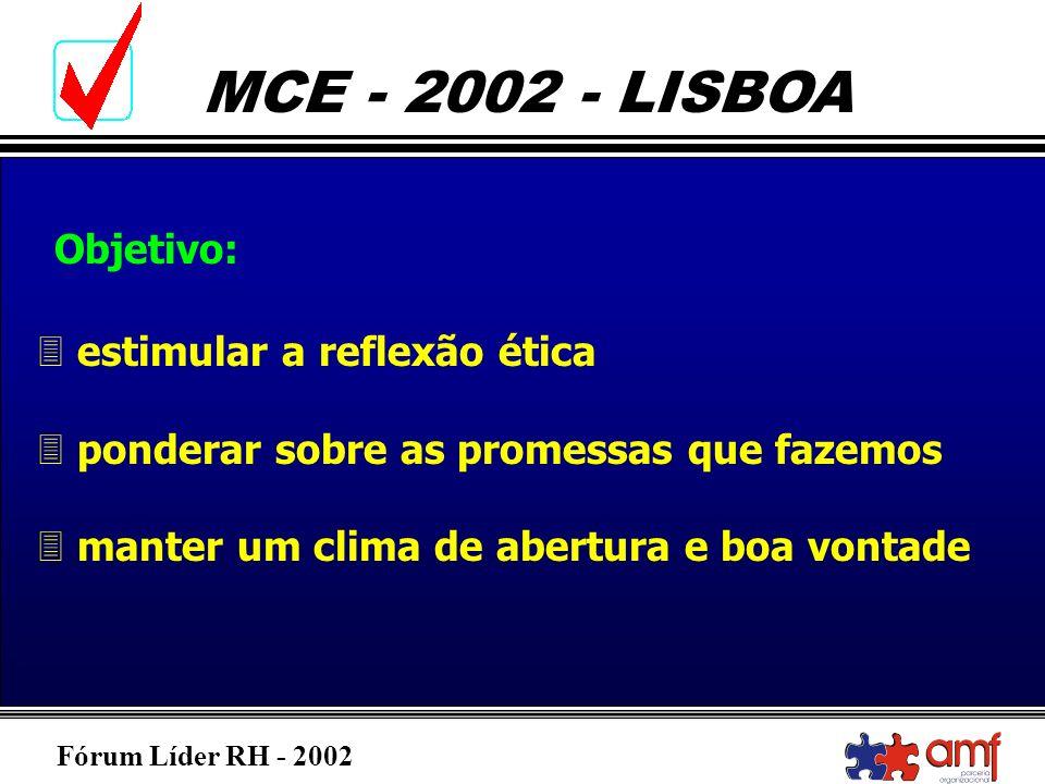 Fórum Líder RH - 2002 MCE - 2002 - LISBOA 3 estimular a reflexão ética 3 ponderar sobre as promessas que fazemos 3 manter um clima de abertura e boa v