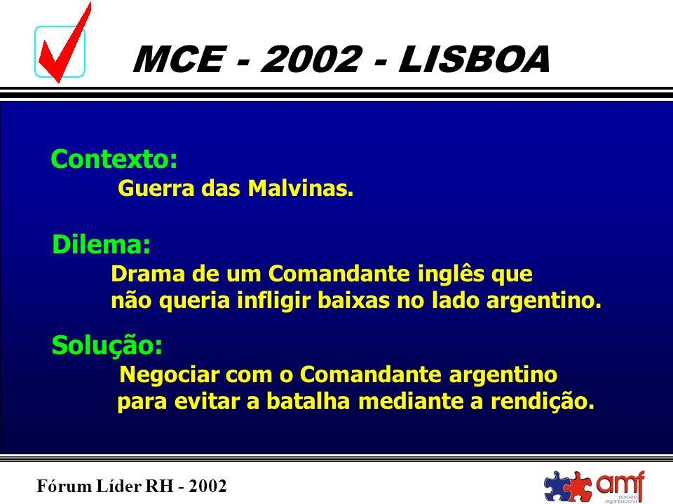 Fórum Líder RH - 2002 MCE - 2002 - LISBOA Contexto: Guerra das Malvinas. Dilema: Drama de um Comandante inglês que não queria infligir baixas no lado