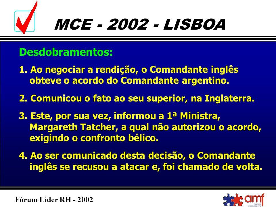 Fórum Líder RH - 2002 MCE - 2002 - LISBOA 1. Ao negociar a rendição, o Comandante inglês obteve o acordo do Comandante argentino. 2. Comunicou o fato