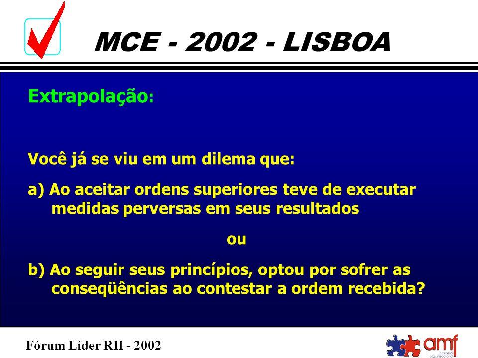 Fórum Líder RH - 2002 MCE - 2002 - LISBOA Extrapolação : Você já se viu em um dilema que: a) Ao aceitar ordens superiores teve de executar medidas per