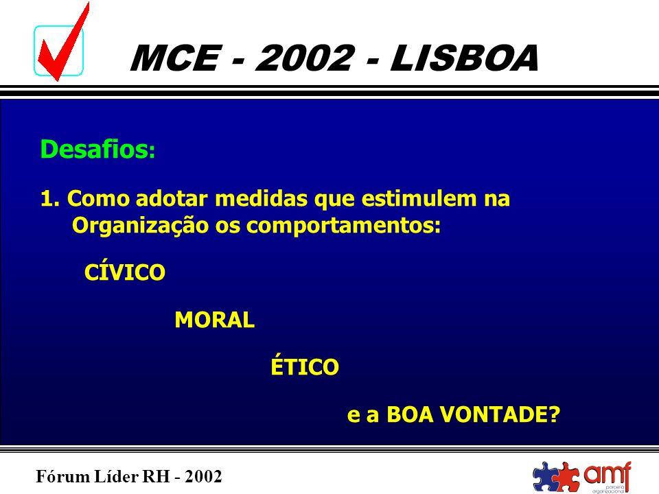 Fórum Líder RH - 2002 MCE - 2002 - LISBOA Desafios : 1. Como adotar medidas que estimulem na Organização os comportamentos: CÍVICO MORAL ÉTICO e a BOA