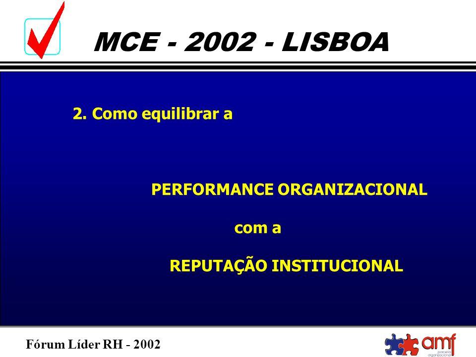 Fórum Líder RH - 2002 MCE - 2002 - LISBOA 2. Como equilibrar a PERFORMANCE ORGANIZACIONAL com a REPUTAÇÃO INSTITUCIONAL