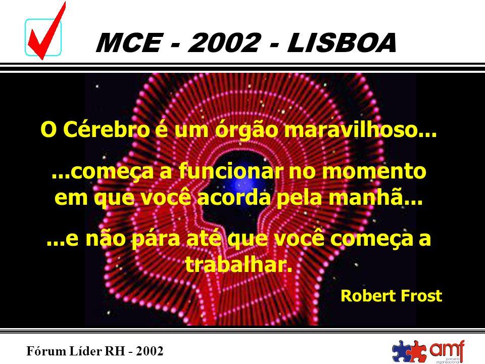 Fórum Líder RH - 2002 MCE - 2002 - LISBOA O Cérebro é um órgão maravilhoso......começa a funcionar no momento em que você acorda pela manhã......e não