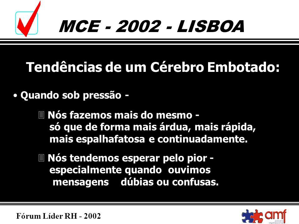 Fórum Líder RH - 2002 MCE - 2002 - LISBOA Tendências de um Cérebro Embotado: Quando sob pressão - 3 Nós fazemos mais do mesmo - só que de forma mais á