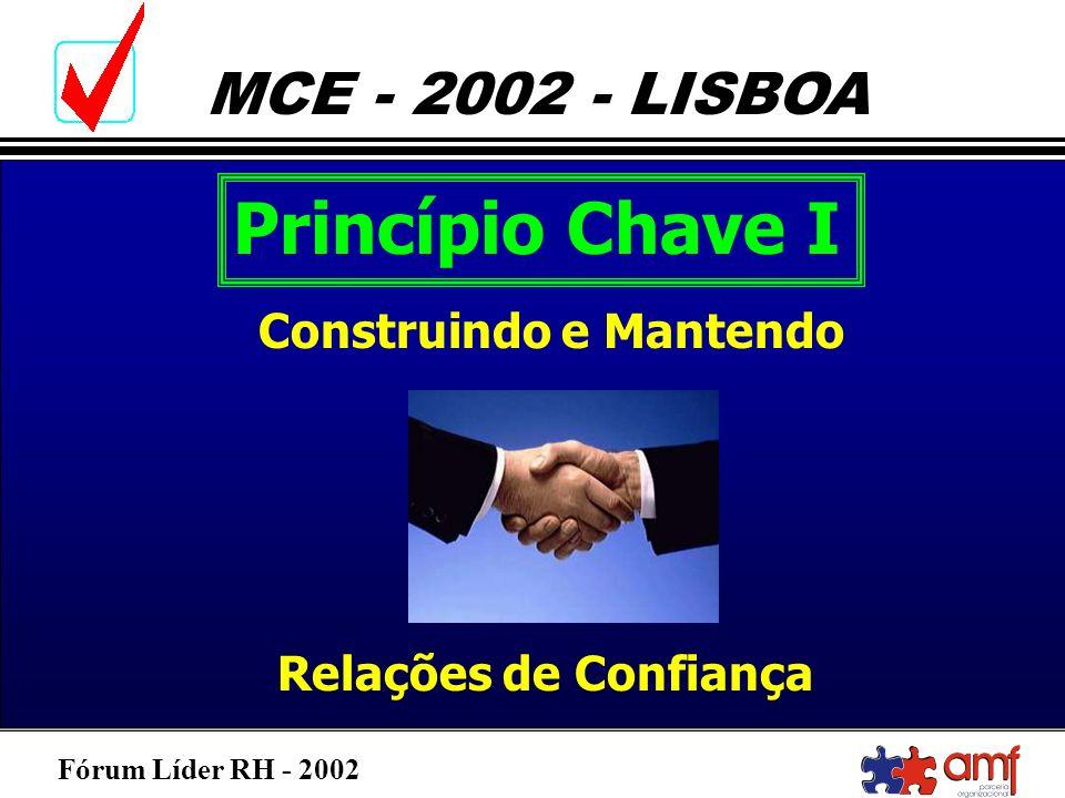 Fórum Líder RH - 2002 MCE - 2002 - LISBOA Princípio Chave I Construindo e Mantendo Relações de Confiança