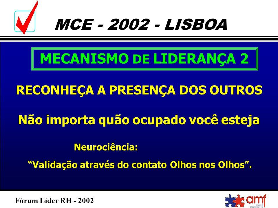 Fórum Líder RH - 2002 MCE - 2002 - LISBOA MECANISMO DE LIDERANÇA 2 RECONHEÇA A PRESENÇA DOS OUTROS Não importa quão ocupado você esteja Neurociência: