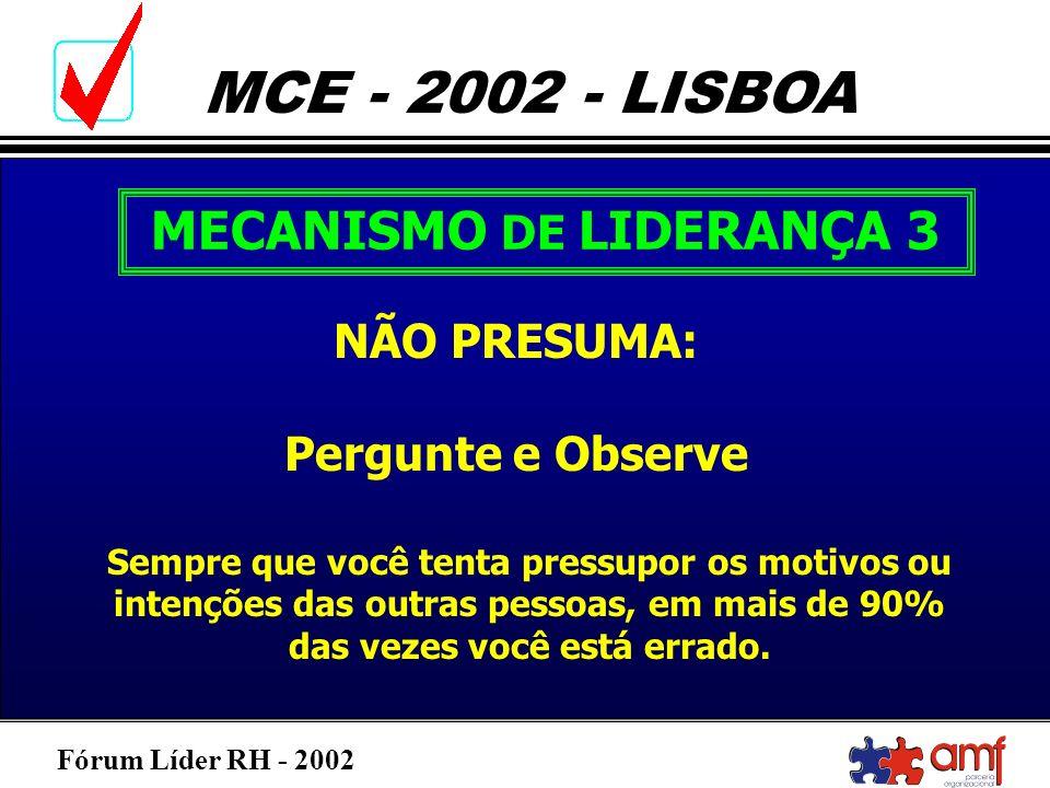 Fórum Líder RH - 2002 MCE - 2002 - LISBOA MECANISMO DE LIDERANÇA 3 NÃO PRESUMA: Pergunte e Observe Sempre que você tenta pressupor os motivos ou inten
