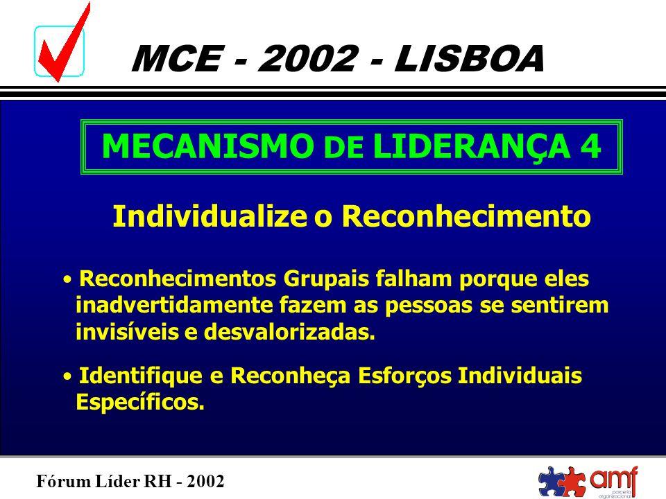 Fórum Líder RH - 2002 MCE - 2002 - LISBOA MECANISMO DE LIDERANÇA 4 Individualize o Reconhecimento Reconhecimentos Grupais falham porque eles inadverti