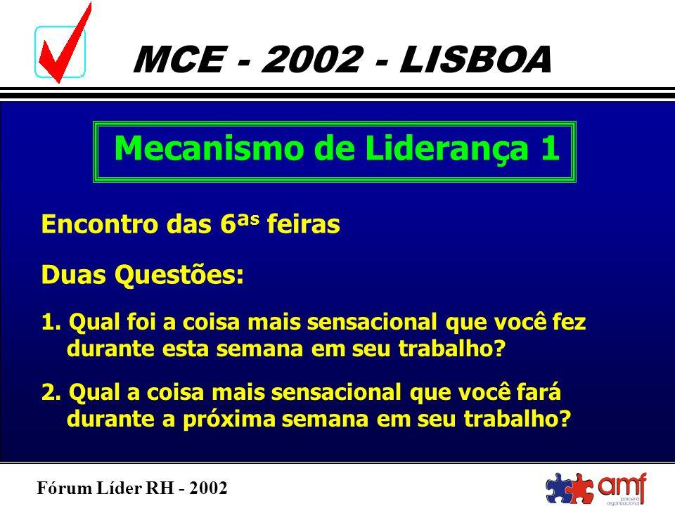 Fórum Líder RH - 2002 MCE - 2002 - LISBOA Mecanismo de Liderança 1 Encontro das 6ª s feiras Duas Questões: 1. Qual foi a coisa mais sensacional que vo