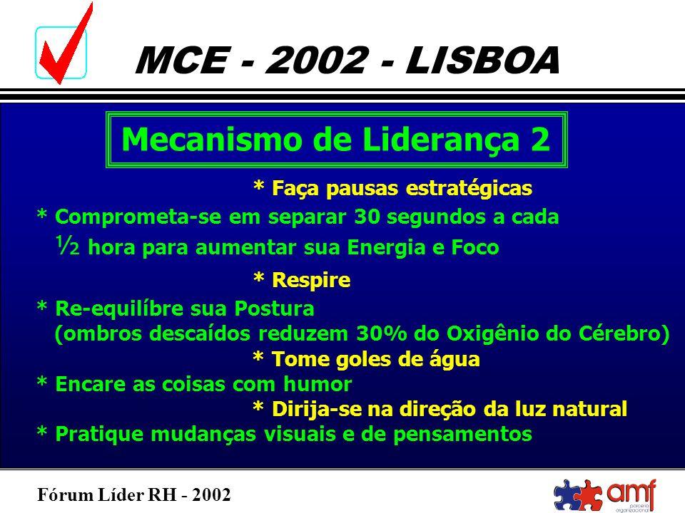 Fórum Líder RH - 2002 MCE - 2002 - LISBOA Mecanismo de Liderança 2 * Faça pausas estratégicas * Comprometa-se em separar 30 segundos a cada ½ hora par