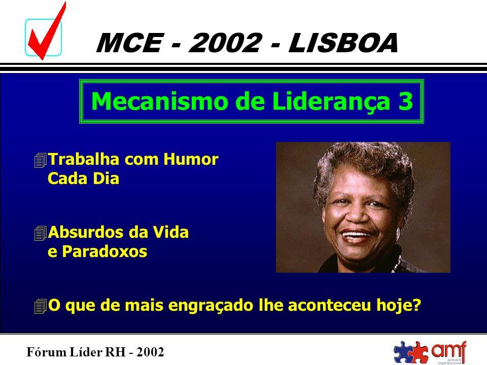 Fórum Líder RH - 2002 MCE - 2002 - LISBOA Mecanismo de Liderança 3 4Trabalha com Humor Cada Dia 4Absurdos da Vida e Paradoxos 4O que de mais engraçado