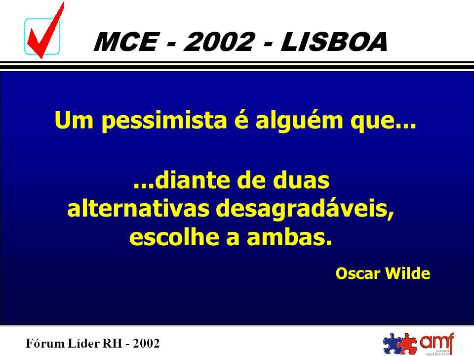 Fórum Líder RH - 2002 MCE - 2002 - LISBOA Um pessimista é alguém que......diante de duas alternativas desagradáveis, escolhe a ambas. Oscar Wilde
