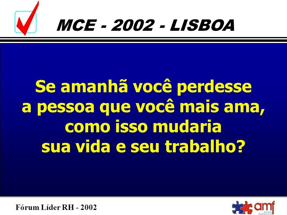 Fórum Líder RH - 2002 MCE - 2002 - LISBOA Se amanhã você perdesse a pessoa que você mais ama, como isso mudaria sua vida e seu trabalho?