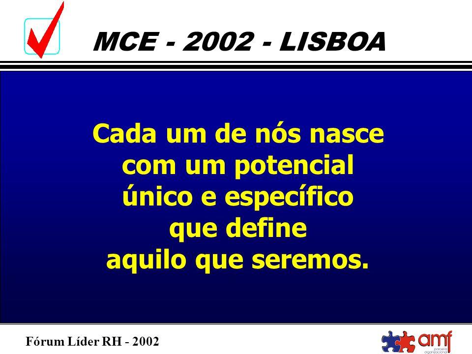 Fórum Líder RH - 2002 MCE - 2002 - LISBOA Cada um de nós nasce com um potencial único e específico que define aquilo que seremos.