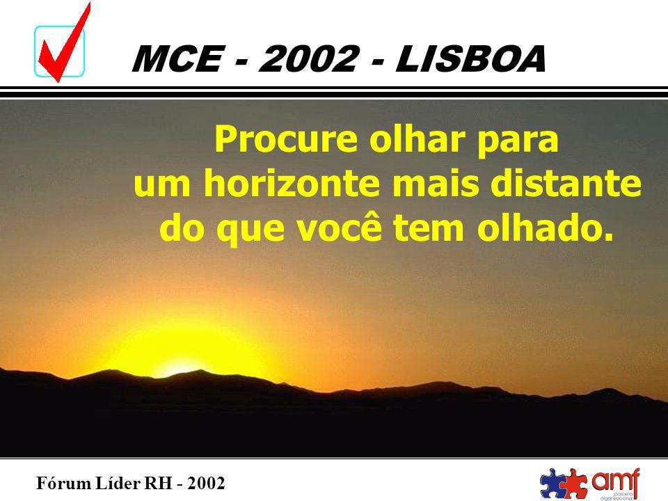 Fórum Líder RH - 2002 MCE - 2002 - LISBOA Procure olhar para um horizonte mais distante do que você tem olhado.