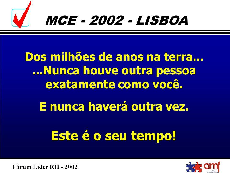 Fórum Líder RH - 2002 MCE - 2002 - LISBOA Dos milhões de anos na terra......Nunca houve outra pessoa exatamente como você. E nunca haverá outra vez. E